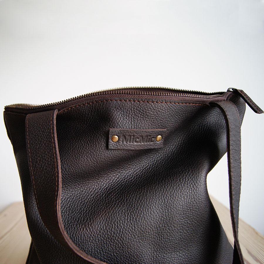 Læder shopper taske, Mabul i brun