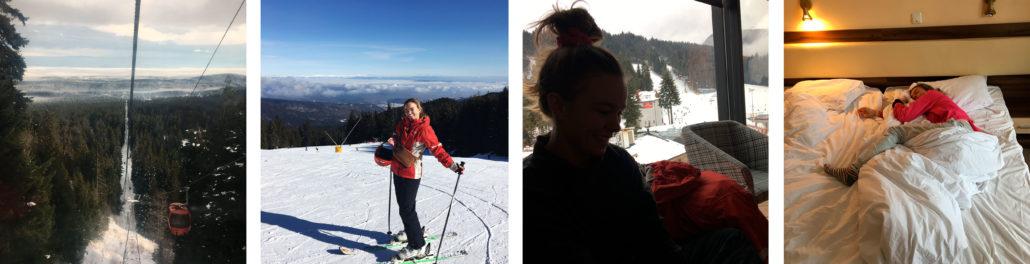 Billede collage fra Borovets ski