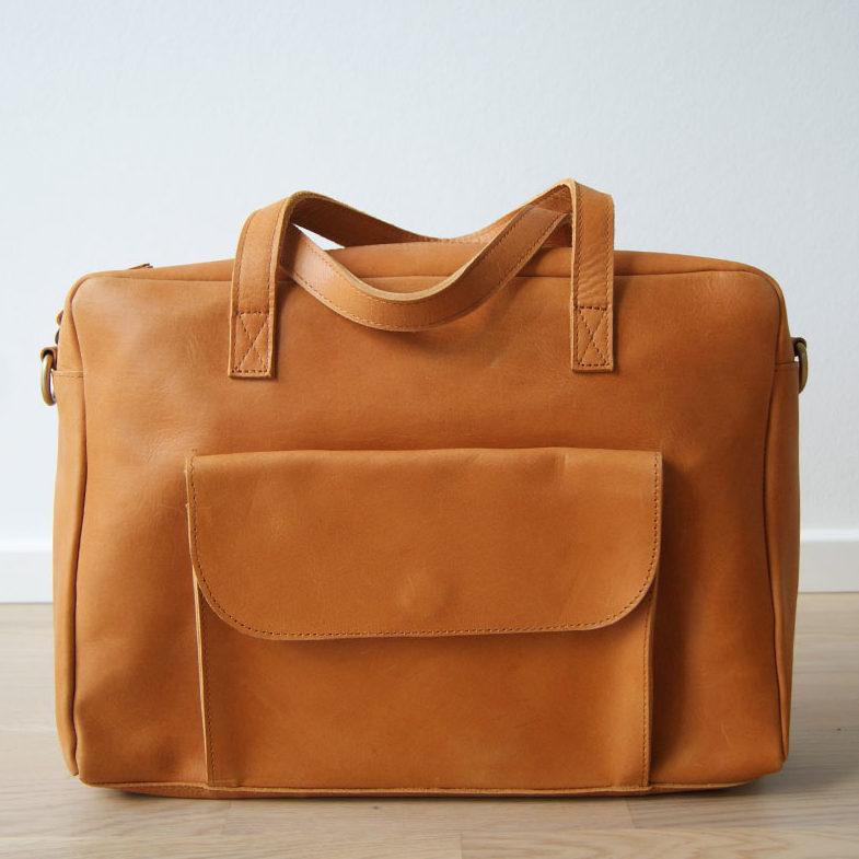 Cognac skuldertaske | crossover taske læder, Elba
