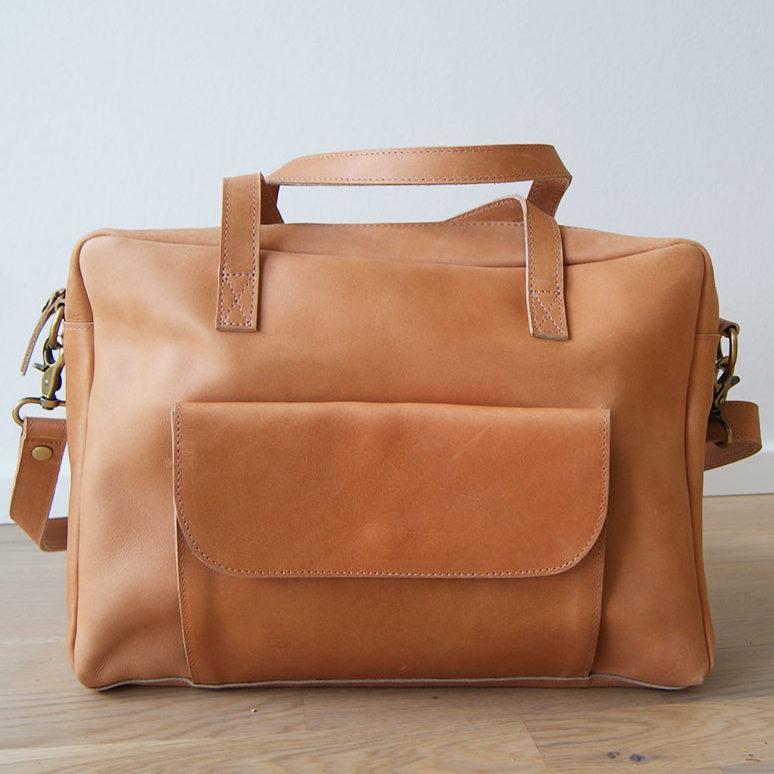 Skuldertaske i sand farve | crossover taske læder, Elba