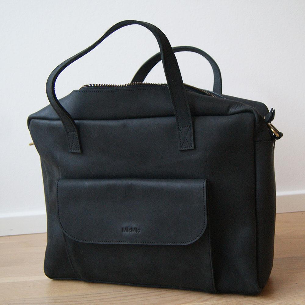 Sort skuldertaske | crossover taske læder, Elba